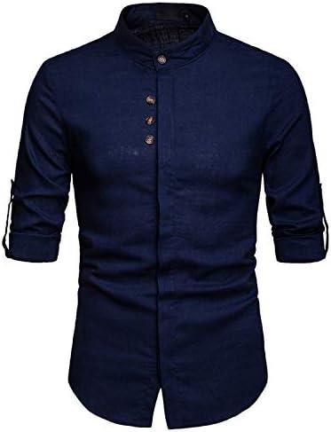 JOLIME Camisa Hombre Lino con Cuello Mao Manga Larga Convertible Casual Formal Trabajo: Amazon.es: Ropa y accesorios