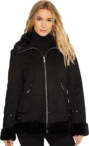 Lauren by Ralph Lauren Women's Faux Shearling Bomber Black Large (Faux Shearling Womens Coats)