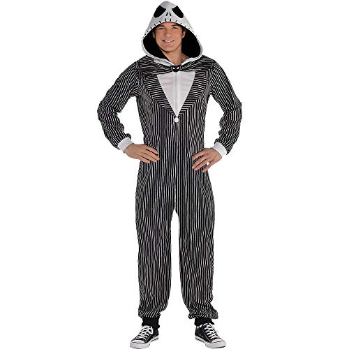 Party City Zipster Jack Skellington The Nightmare Before Christmas One Piece Halloween Costume for Adults, Small/Med Black]()