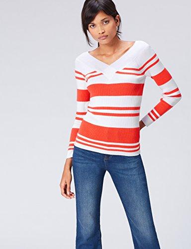 FIND Jersey de Rayas con Cuello en V para Mujer Rojo (Sports Red/white)