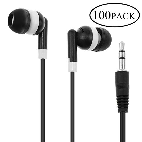 Wholesale Bulk Earbuds Headphones Earphones Individually Bagged 100 Pack Black Compatible for Android, MP3 Player