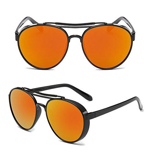 lunettes rétro rond et lentille style de de Orange Noir lunettes Hommes Dintang Lentille soleil Steampunk soleil Cadre femmes qzw71pt