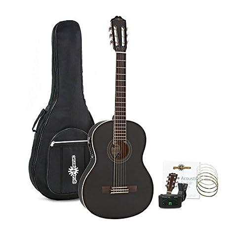 Paquete de Guitarra Clásica Electroacústica Deluxe Negra de Gear4music: Amazon.es: Instrumentos musicales