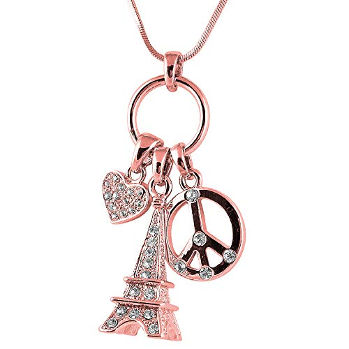 Peace Love and Paris 3D Crystal Eiffel Tower, Peace Sign, Heart Multi-Charm Necklace Paris France Jewelry Gifts for Women, Teen Girls (Rose Gold) ()