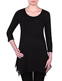 Nygard Women's Plus Size Slims 3/4 Slv Sharkbite Tunic Black