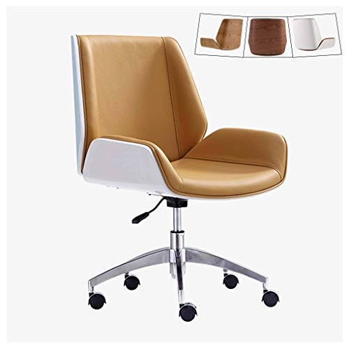 ZHEN GUO Mid Century Modern Office Desk Chair with Cipri Leather Upholstery, Adjustable Height Armless Swivel Chair, Mid Back Rolling Chair with Wheels, Stainless Steel Legs (Color : Camel) ()