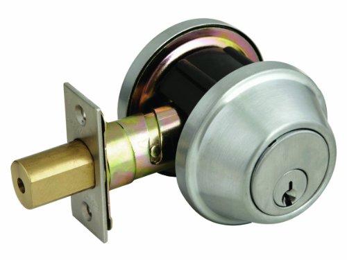 Design House 702274 C-Series Single Cylinder 2-Way Latch Deadbolt, Adjustable Backset, Satin Nickel Finish