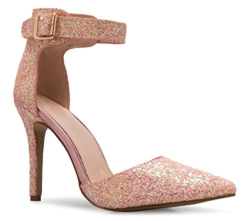 OLIVIA K Women's Sexy D'Orsay Pointed Toe Heel Pump - Classic, Comfortable Pink Multi (Pump Sexy Classic 4 Inch)