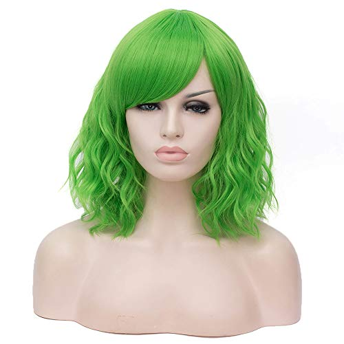 SL Short Green Wig for Women Curly Wavy Cosplay Costume Wigs with Wig Cap]()