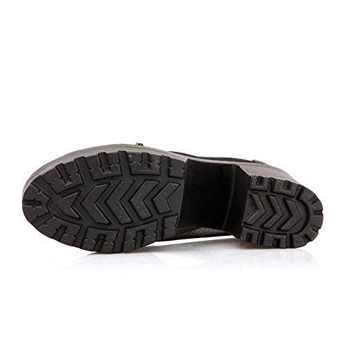Amoonyfashion Peep-toe Teen Pull-on Pu Stevige Hoge Hakken Sandalen Zwart