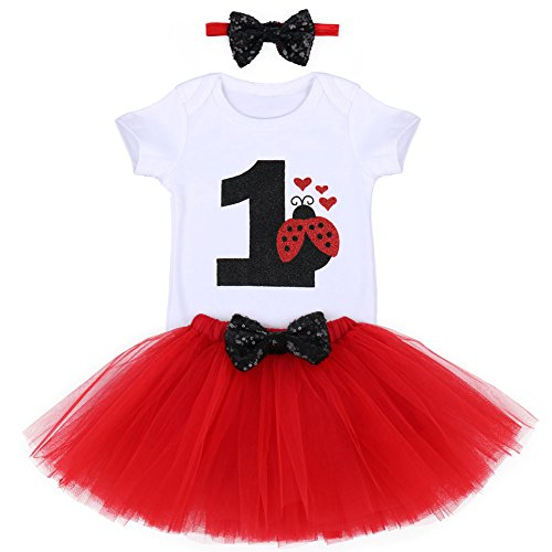 First Birthday Outfit Baby Girl One Romper Tutu Skirt Headband 3PCS Set Princess Party Casual Fancy Playwear Holiday Ladybug Red