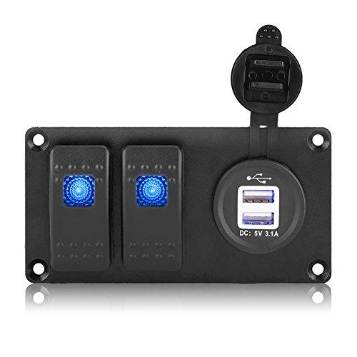 Qiilu 2 Gang 12-24V Blue LED Rocker Switch Panel with 3.1A Dual USB Port for Car RV Marine (2 Gang Rocker)