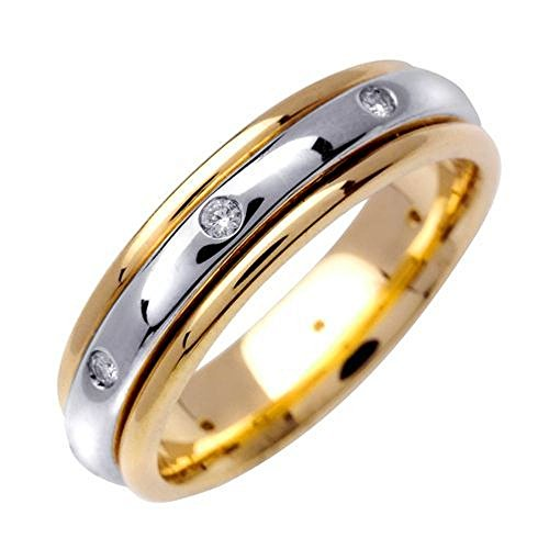 14k Gold Round Brilliant Bezel Set 6mm Comfort Fit Two Tone Diamond Band 0.16ctw 1249 - Size 14.5 Diamond Bezel Set Mens Band