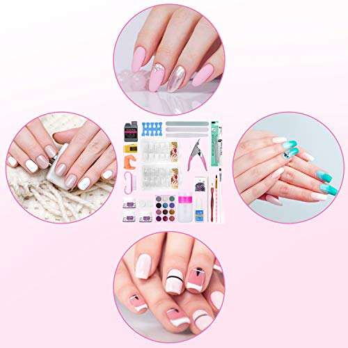 Acrylic Nail Kit with Acrylic Liquid & Nail Glue, Nail Kit Set Professional Acrylic with Everything, French Tips Nail Art Decoration Tools for Beginners and Technicians