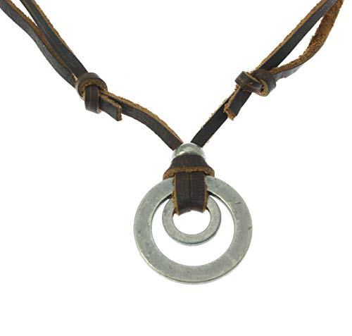 Surfer Leather Necklace with Double Round Metal Pendant - Fully Adjustable - Brown Lather Cord