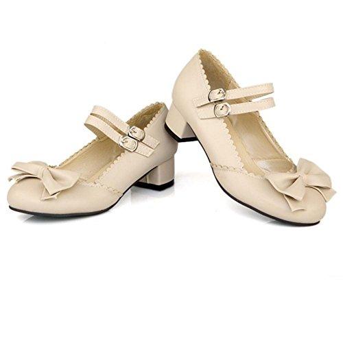TAOFFEN Women's Ankle Strap Court Shoes Beige sCS1kk5x