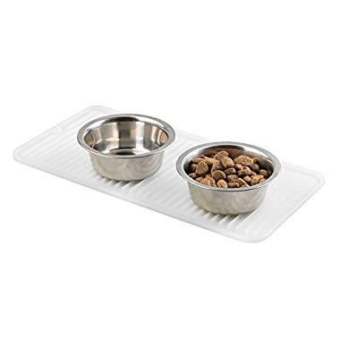 mDesign Silicone Pet Food & Water Bowl Feeding Mat for Dogs - 16  x 8 , Small, Clear