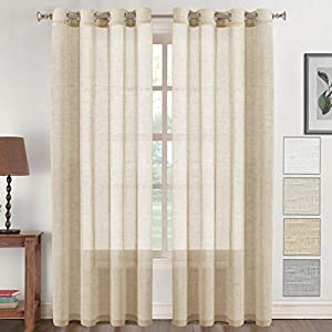 JVIN FAB Polyester Solid Grommet Eyelet Curtain, 5 Feet, Blonde Cream, Pack of 2
