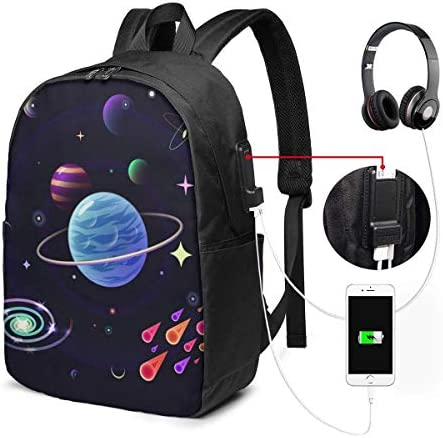 RROOT Root Unisex Rucksack mit USB-Ladeanschluss Space Planets Stars Classic Fashion General Business Bookbag