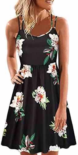 806aa86590e UEANRFA Plus Size Clothing for Women Dresses Women's Summer Floral  Sleeveless Adjustable Spaghetti Backless Short Dress