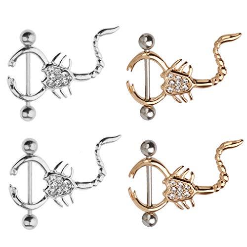(Prettyia 2 Pairs Punk Scorpion Shield Nipple Bar Ring with Rhinestone Silver/Gold)