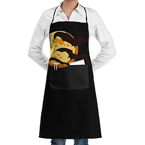 gaeberp Unisex Long Aprons Halloween Moon with Bats Manicure Store Sleeveless Anti-Fouling Overalls Portable Pocket Design