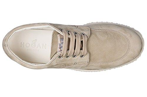 Hogan Chaussures à Lacets Classiques Femme en Daim Traditional Beige VOqnPR