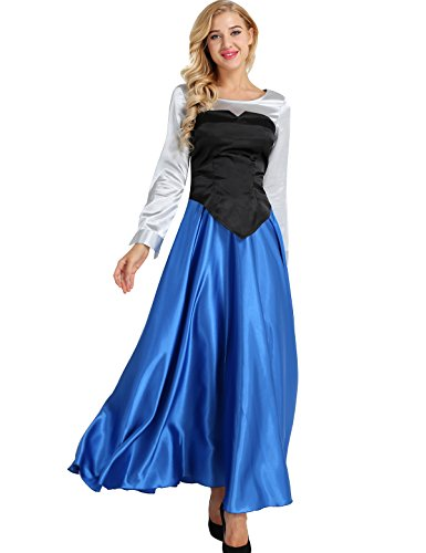 ranrann The Little Mermaid Ariel Cosplay Costume Princess Adult Women's 3 Pieces Party Dress Ball Gown Outfit Colorful Large