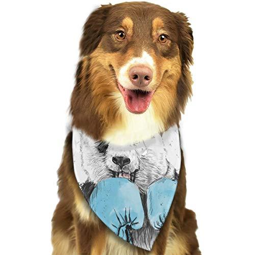 - Pet Dog Scarf Boxing Minimalist Panda Graphics Washable Dog Puppy Triangle Bandana Bib Babys Neckerchief Accessories
