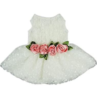 Fitwarm® High Quality Luxury Rose Lace Pet Dog Weddding Dress Bride Clothes Formal Apparel, Large
