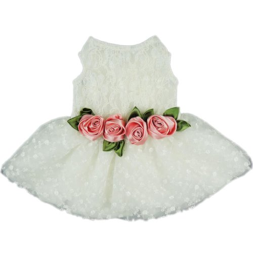 Fitwarm Luxury Rose Lace Pet Dog Weddding Dress Bride Clothes Formal Apparel, X-small