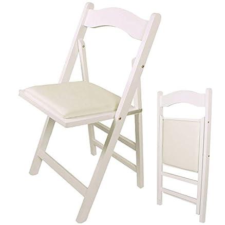 SoBuy® Sedia pieghevole, sedia da cucina, legno,bianco, FST06-W ...
