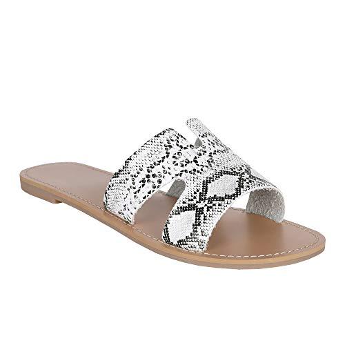 (FISACE Womens Snake Print Slip On Flat Sandal Open Toe Summer Shoes)