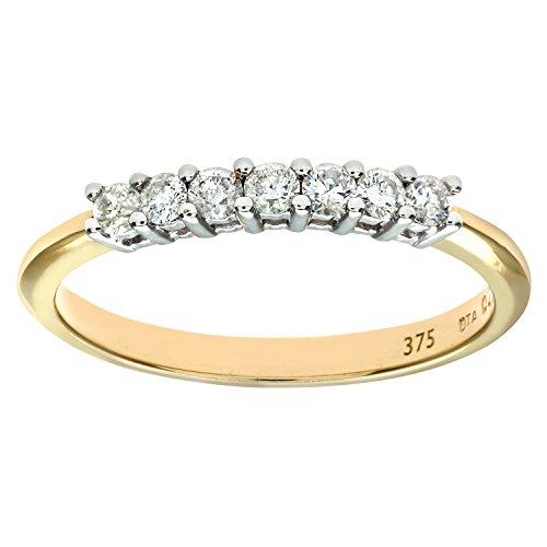 Bague Femme - Or jaune (9 carats) 1.7 Gr - Diamant 0.25 Cts