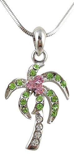 (Glamour Girl Gifts Small Silver Tone Tropical Palm/Coconut Tree Necklace with Clear, Light Pink, and Green Crystals)