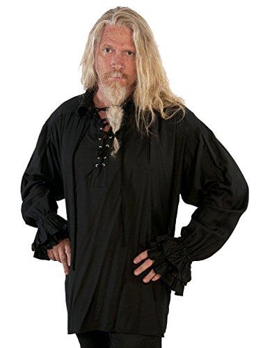 Dress Like A Pirate Clothing Quality Pirate Steampunk Reenactment Shirt (2X/3X, Black) ()