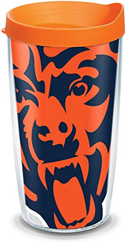 Tervis 1085163 NFL Chicago Bears Colossal Tumbler with Wrap and Orange Lid 16oz, Clear -