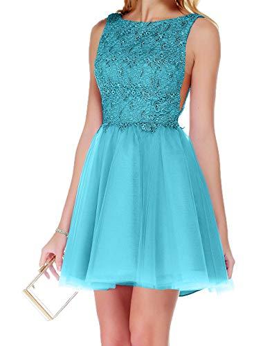 Spitze Abschlussballkleder Hell Mini Suessig Blau Damen Abendkleider Partykleider Charmant Kurz Cocktailkleider Tuell xEqX8nnvA