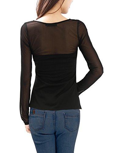 Allegra K Women's Long Sleeves Slim Fit See Through Mesh Top: Amazon.co.uk:  Clothing