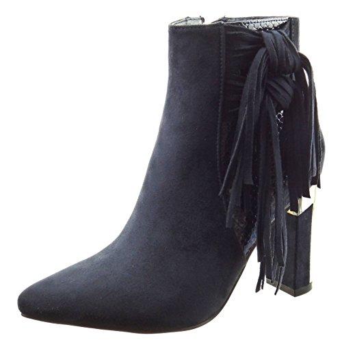 Sopily - Zapatillas de Moda Botines bimaterial A medio muslo mujer piel de serpiente fleco metálico Talón Tacón ancho alto 9 CM - plantilla sintética - forradas en piel - Azul