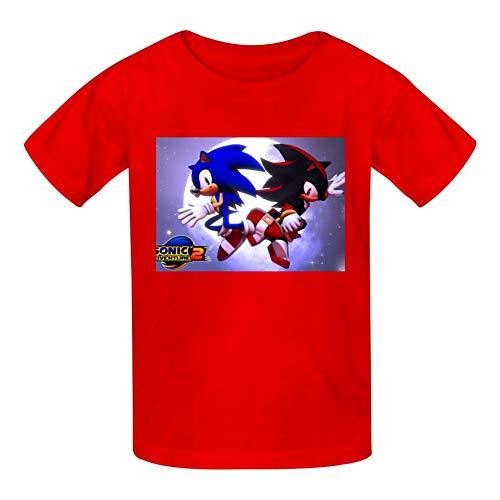 Kgtbckg Kids T Shirt Son-ic Hedge-hog Game Print Short Sleeves Shirt Top Tees for Girl Boy Red (Sonic The Hedgehog Evolution Of A Hero)