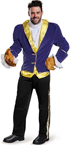 Costume Man Beast (Disney Disguise Men's Beauty and The Beast Prestige Costume, Blue,)