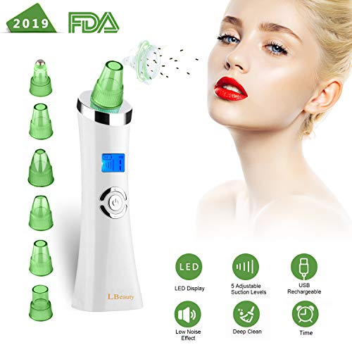 Blackhead Remover, Happyon Pore Vacuum USB Rechargeable Blackhead Vacuum Suction Remover, Electric Skin Cleanser Blackhead Extractor Tool, Skin Pore Cleaner with 4 Replaceable Suction Beauty Device
