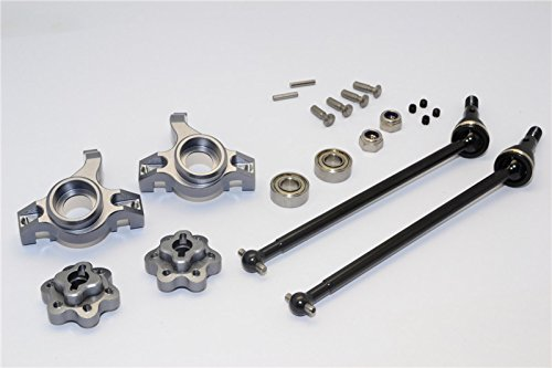 Axial Yeti (AX90026) & Yeti SCORE (AX90068) Upgrade Parts Aluminum Front Knuckle Arm With Hex Adapters & Steel Front CVD Drive Shaft - 6Pcs Set (Thickness Design) Gray Silver -