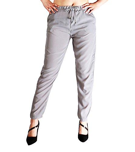 le soie Pantalon quotidien et mousseline avec le pantalons affaires femmes pour les Gris de en cordon de occasionnel 7wr70