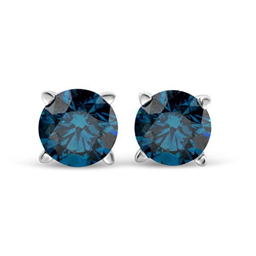IGI Certified 3/4cttw Blue Diamond Round Stud Earrings 14k in White ()