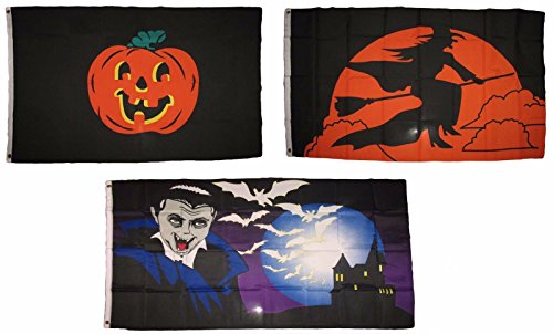 ALBATROS 3 ft x 5 ft Happy Halloween 3 Pack Flag Set #202 Combo Banner Grommets for Home and Parades, Official Party, All Weather Indoors -