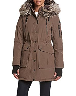 BCBG Faux Fur Trim Hooded Anorak Coat