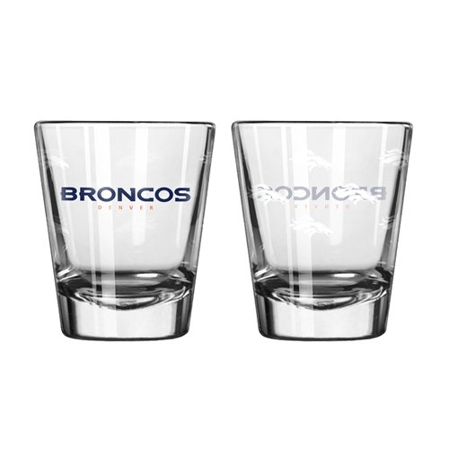 Denver Broncos Glass - NFL Denver Broncos Shot GlassSatin Etch Style 2 Pack, Team Color, One Size