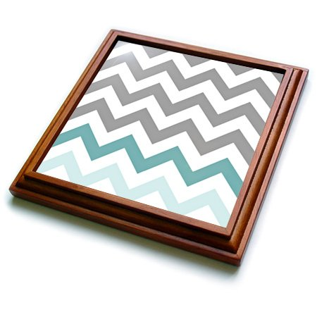 3dRose Grey Chevron with Mint Turquoise Zig Zag Accent Gray Zigzag Pattern Trivet with Ceramic Tile, 8 by 8